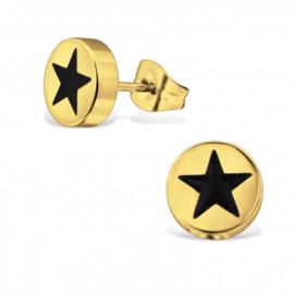 Oorbellen chirurgisch staal sterren knopjes gold plated