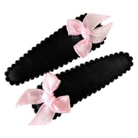 Haarspeldjes met strikje zwart/roze