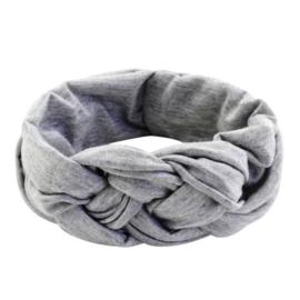 Vlechthaarband effen grijs