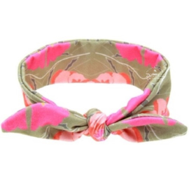 Knoop - wrap haarband taupe/roze