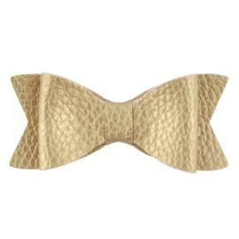Haarstrik groot leder-look goud