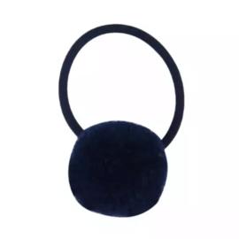 Pompom elastiek donkerblauw