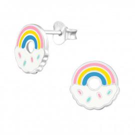 Oorbellen regenboog donut