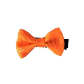Haarlokspeld met strik oranje 4 cm