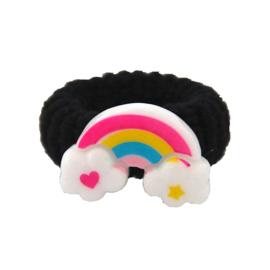 Badstof elastiek regenboog zwart