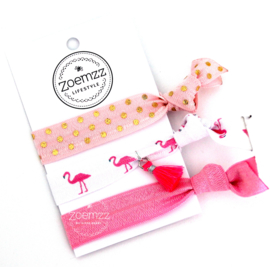 Ibiza elastiek/armband flamingo pink