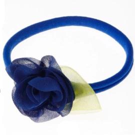 Haarbandje met bloem blauw