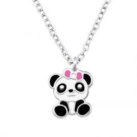 Kinderketting zilver panda