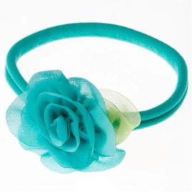 Haarbandje met bloem zeegroen