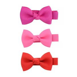 Set haarstrikken klein pretty pink
