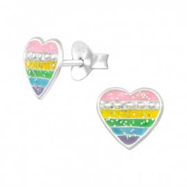 Kinder oorbellen zilver regenboog hartjes