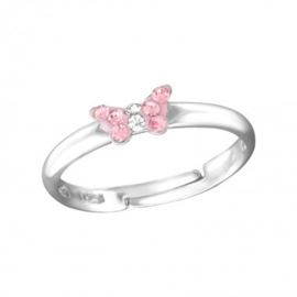 Zilveren kinderring verstelbaar vlinder roze