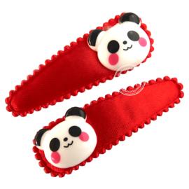 Haarspeldjes met panda rood