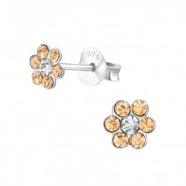 Zilveren kinderoorbellen kristal bloem zandkleur