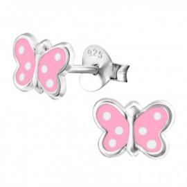 Kinderoorbellen vlinder roze stippen