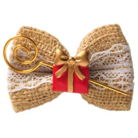 Haarstrik jute Sinterklaas met cadeautje