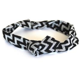 Haarband met knoop zwart - grijs