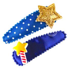 Haarspeldjes met toverstaf en ster blauw