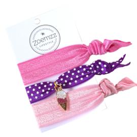 Ibiza elastiek/armband paars roze