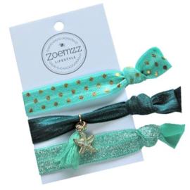 Ibiza elastiek/armband zeester groen