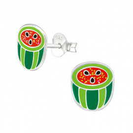 Kinder oorbellen zilver watermeloen