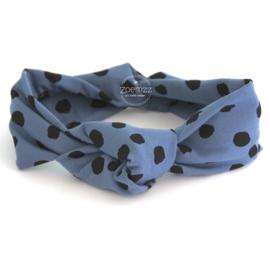Haarband met knoop blue dots