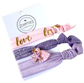 Ibiza elastiek/armband lila