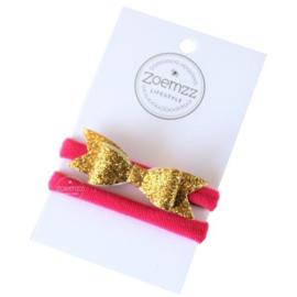 Haarbandje met strik donkerroze goud