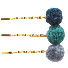 Haarschuifjes goudkleur met pompom denim bobby pin