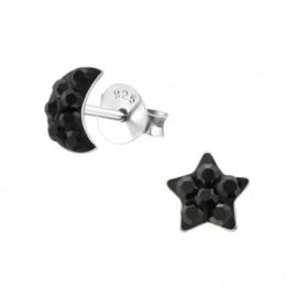 Kinderoorbellen zilver maan en ster