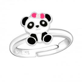 Zilveren kinderring panda