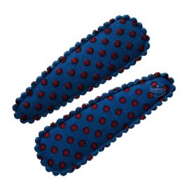 Haarspeldjes blauw met rode stippen