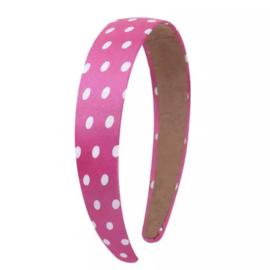 Diadeem breed hot pink met dots