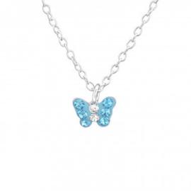 Kinderketting zilver vlindertje blauw