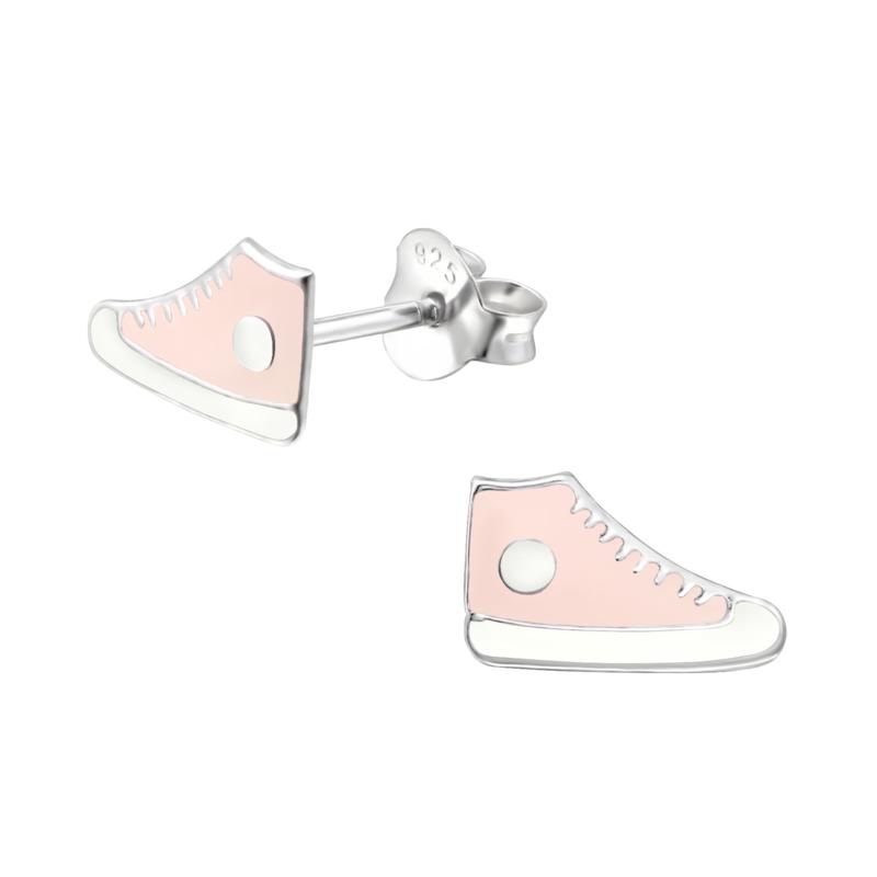 Kinderoorbellen zilver sneakers roze