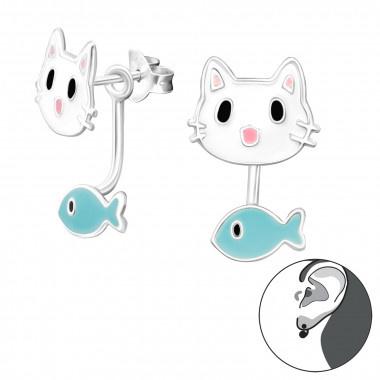 Kinderoorbellen zilver kat met visje