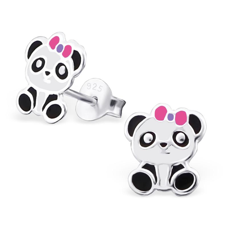 Kinderoorbellen zilver panda met strikje