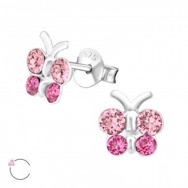 Kinderoorbellen vlinder met steentjes roze
