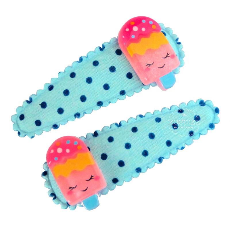 Set haarspeldjes met ijsjes blauw