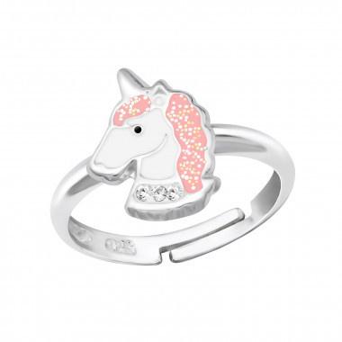 Zilveren kinderring verstelbaar unicorn