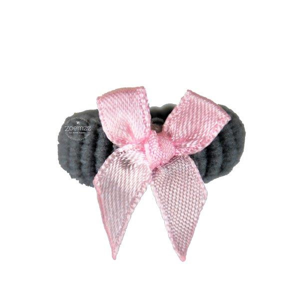 Badstof elastiek strikje roze/grijs