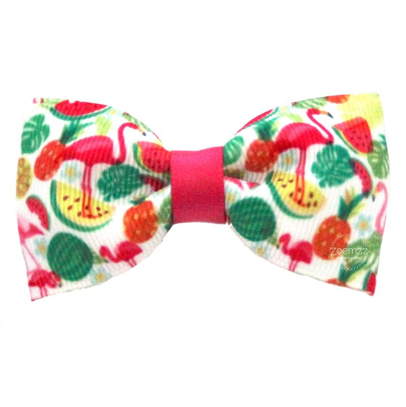 Haarlokspeld met strik flamingo watermeloen