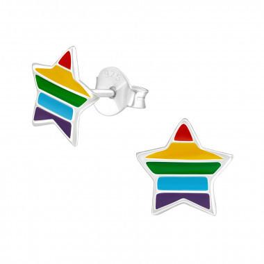 Kinderoorbellen zilver ster regenboog