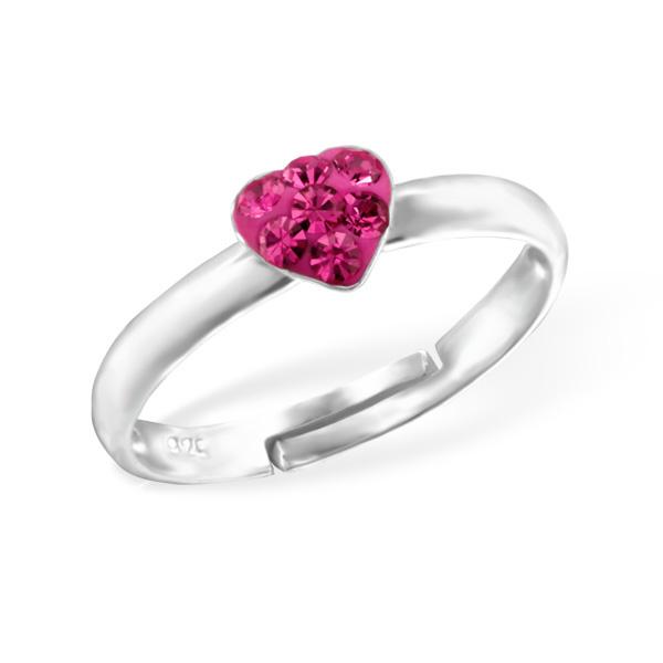 Zilveren kinderring hartje roze met steentjes