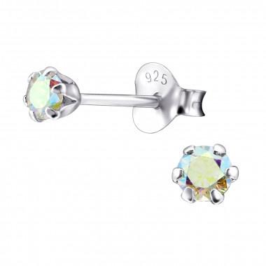 Kinder oorbellen zilver knopjes kristal