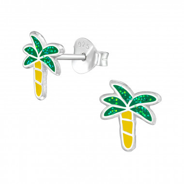 Kinder oorbellen zilver palmboom