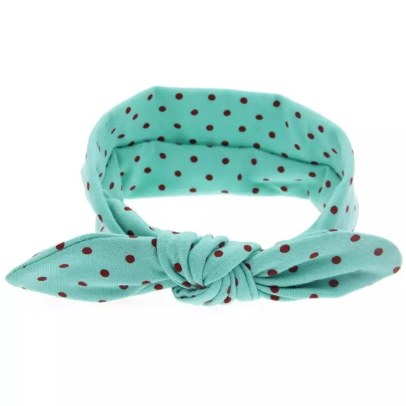 Knoop - wrap haarband groen met stippen