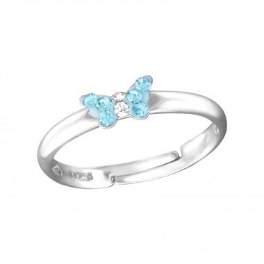 Zilveren kinderring verstelbaar vlinder blauw
