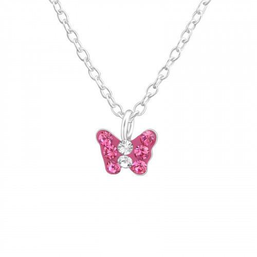 Kinderketting zilver vlindertje roze