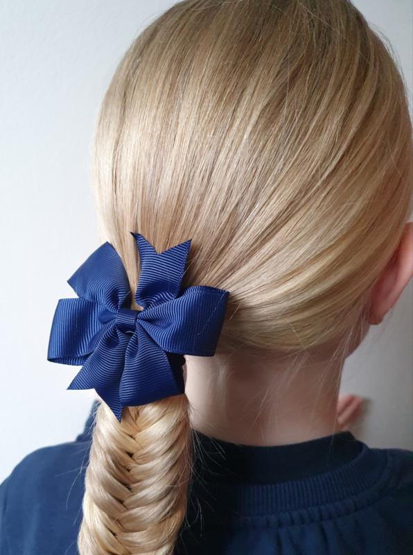 Elastiek met strik donkerblauw